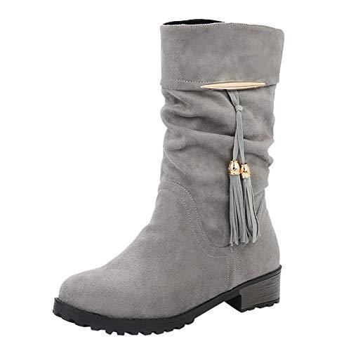 Tefamore Botas Mujer Invierno Tacon Botas Altas Botines Zapatos con Aumento de Borla Round Toe Flat Tube Boots Botas de Nieve Zapatos Planos