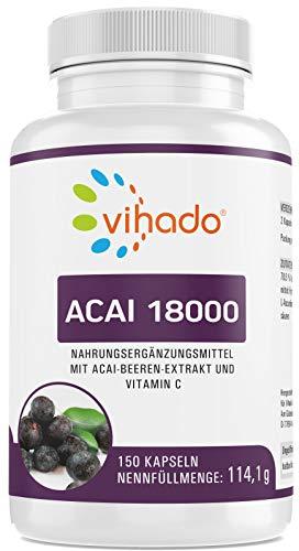 Vihado Acai 18000 – hochdosierter Acaibeeren-Extrakt mit wertvollen Pflanzenstoffen – enthält natürliches Vitamin C – pflanzliches Nahrungsergänzungsmittel ohne Zusätze – 150 Kapseln