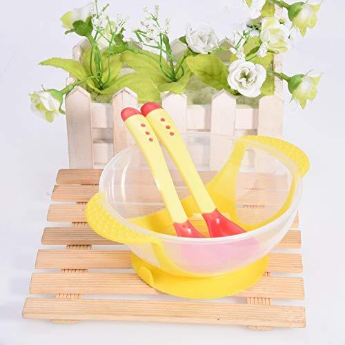 Hatirea Cuencos para bebés, Conveniente Cuenco con Ventosa para bebés de 16 * 12.5 * 6 cm, para bebés pequeños(Yellow)