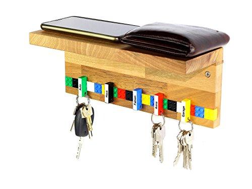 Schlüsselbrett Play 203 Holz | Schlüsselboard mit Ablage für die ganze Familie | Schlüsselleiste Nussbaum mit 6 Schlüsselanhängern zum selbst beschriften | inkl. Schrauben und Dübel | bunt