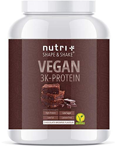 EIWEIßPULVER VEGAN Chocolate Brownie 1000g - Mehrkomponenten Protein Pulver Schokolade - Pflanzliches Proteinpulver Schoko Cake laktosefrei - Eiweiß Shake nicht nur für Veganer