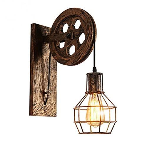 Lampada da parete industriale retrò, lampada a puleggia di sollevamento a testa singola, applique da parete regolabile, paralume in gabbia di ferro opaco, per fienile di illuminazione per interni