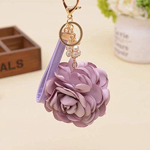 LLZYZJ Autoschlüssel Anhänger Kamelien Rose Frauen Romantische Tasche Anhänger Charme Blumen Schnalle Schlüssel Ringhalter