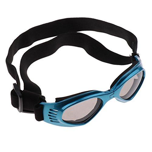 Hundeschutzbrille Hundebrille Sonnenbrille UV Augenschutzbrille wasserdicht Brille für kleine & mittelgroße Hunde - Blau