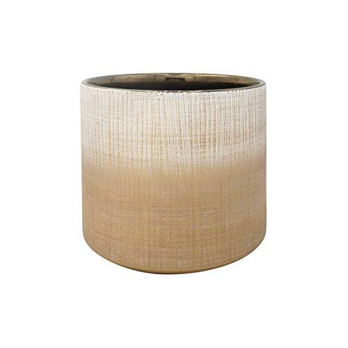 Amazon Brand – Rivet Rustic Stoneware Crosshatch Indoor Outdoor Flower Plant Pot, 7.9H, Bronze