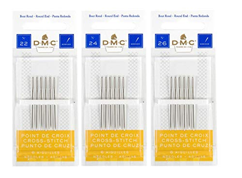 DMC 3 Pack Size 22-24-26 (One Pack Each)-Cross Stitch Needles - Total 18 Needles - New Package