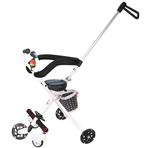 MuMa Landaus avec Baby Out Baby Ultralight Cinq Tours Peut être plié Up Kids Trolley Ultralight Toy Car - Blanc
