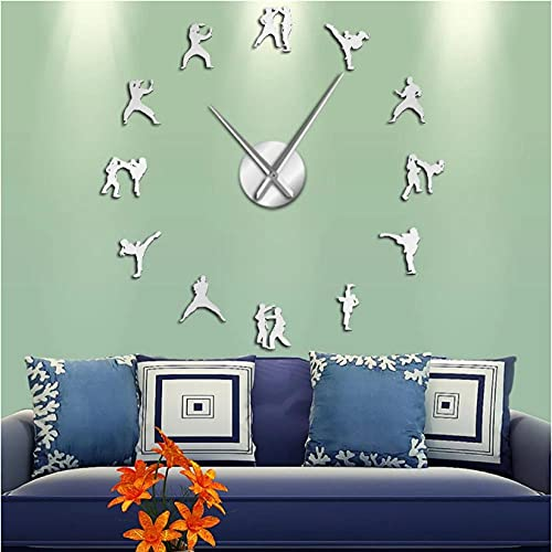 LWXJK Atleta Lucha Pegatinas de Pared con Espejo Karate Taekwondo Gran Reloj de Pared DIY Relojes de Pared decoración de Sala de Estar Horologe-27INCH
