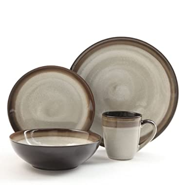 Gibson Couture Bands 16-Piece Dinnerware Set, Brown and Cream