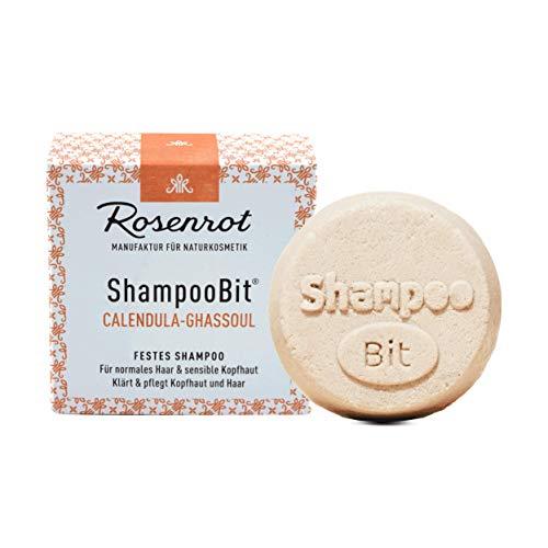 Rosenrot Naturkosmetik - ShampooBit® - festes Shampoo Calendula-Ghassoul - 55g - Für normales Haar & sensible Kopfhaut - Klärt & Pflegt Kopfhaut und Haar