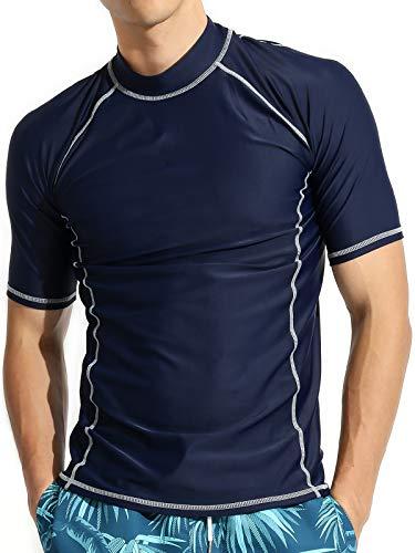 Actleis Men's Short Sleeve Rash Guard, UPF50+ UV Sun Protection Quick Dry Swimming Running Fising Shirts us-al20008 L Navy