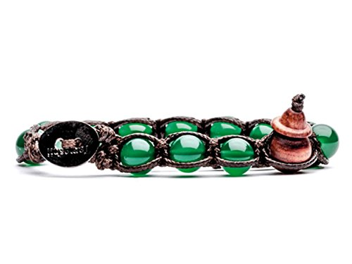 Bracciale originale tibetano Tamashii realizzato con pietre naturali AGATA VERDE