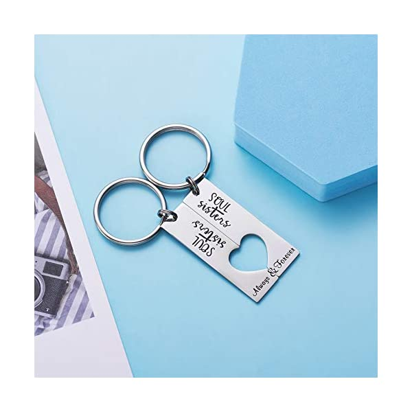 LParkin Soul Sister Keychains for 2 Always & Forever Sister Keychain Jewelry for Women Sister Gift Best Friends Key Chain Set