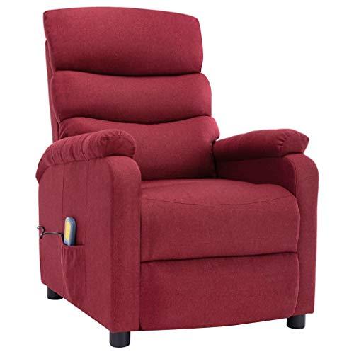 vidaXL Massagesessel mit Heizfunktion Massage TV Sessel Fernsehsessel Relaxsessel Ruhesessel Polstersessel Liegesessel Lounge Weinrot Stoff