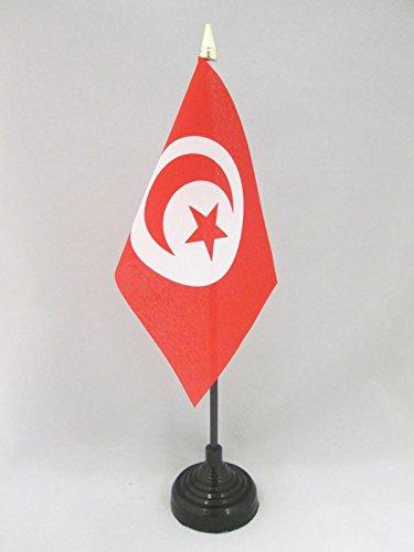 AZ FLAG TISCHFLAGGE TUNESIEN 15x10cm goldene splitze - TUNESISCHE TISCHFAHNE 10 x 15 cm - flaggen