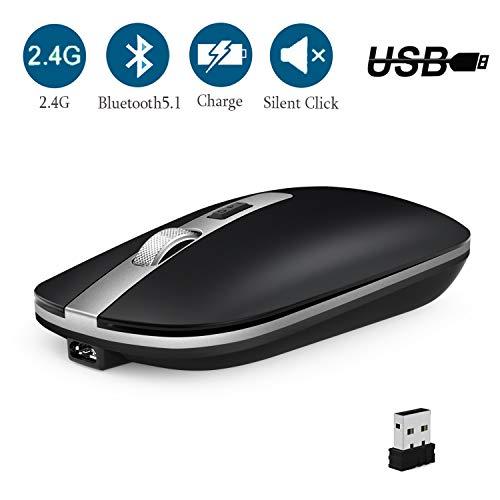 GeekerChip Ratón inalámbrico,Ratón Bluetooth Recargable y Silencioso a Dos Modos (Bluetooth5.1+ 2.4G Inalámbrico),800-1200-1600 dpi Ajustable para Computadora,Portátil(Negra)