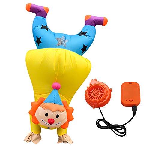 ByeSun Inflatable Clown Costume Adults Halloween Cosplay Handstand Funny Costumes Yellow Blow up Air Party Suit(150-190cm)