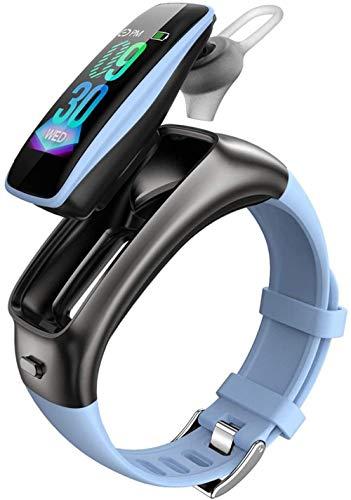 DHTOMC Pulsera inteligente de 0.96 pulgadas de alta definición táctil color pulsera Bluetooth auricular combo deportes fitness podómetro pulsera-azul claro