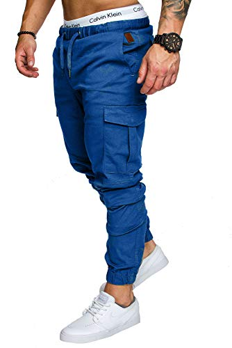 Amaci&Sons Jogger Cargo Herren Chino Jeans Hose 7001 Royalblau W32