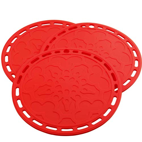 Lucky Plus Big Round Silicone Pot Holder Hot Pads and Trivets for Hot Dishes and Hot Pots, Hot Mats for Countertops, Tables, Spoon Rest Small Place Mats Set of 3 Color Red