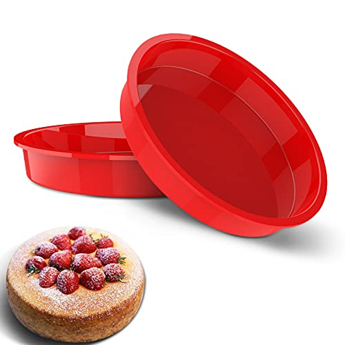 Silicone Round Cake Pans, Beorlen 9 inch Silicone Molds for baking, Non-stick, Quick Release Baking Pans for Layer Cakes, Rainbow Cakes, Cheese Cakes, and Chiffon Cake.