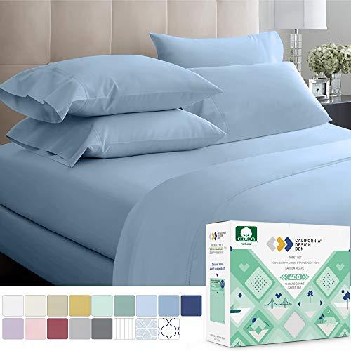 California Design Den 600 Thread Count Best Bed Sheets 100% Cotton Sheets Set  Extra LongStaple Cotton Sheet for Bed 4 Piece Set with Deep Pocket Blue Queen Sheet Set