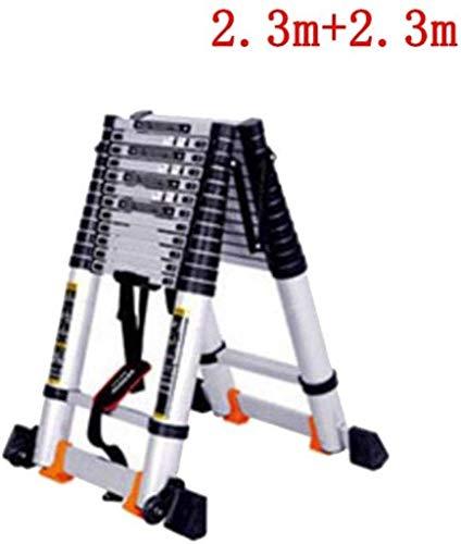 YZjk Ausziehbare Alminiumleitern Teleskopklappbare Ausziehbare Tragbare 10 Stufen Loft-Ausziehleiter DIY Mehrzweck (Größe: 4,7 m + 4,7 m)