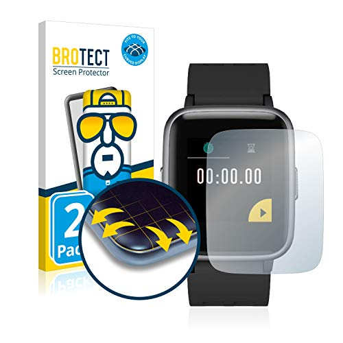 BROTECT Full-Cover Schutzfolie kompatibel mit GRDE Fitness Tracker V 5.0 (2 Stück) - Full-Screen Displayschutz-Folie, 3D Curved, Kristall-Klar
