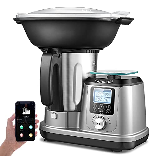 Küchenmaschine Mit Kochfunktion, Maximal 1200W Sunmaki, 5 Programme, Multifunktions, integrierte Küchenwaage, Dampfgarer, Rührgerät Multifunktional inkl. Zubehör und Rezepthef LED Display Kontroll
