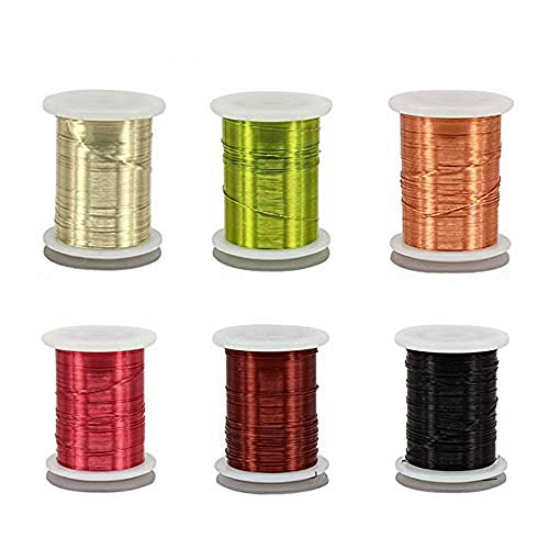 Riverruns 6 Color/Set Non-tarnishing Ultra Copper Wire 0.1mm, 0.2mm Super Realistic Fly Tying Material Proudly from Europe Great Choices for Larve Nymph, Streamer (0.2mmWire Pack)