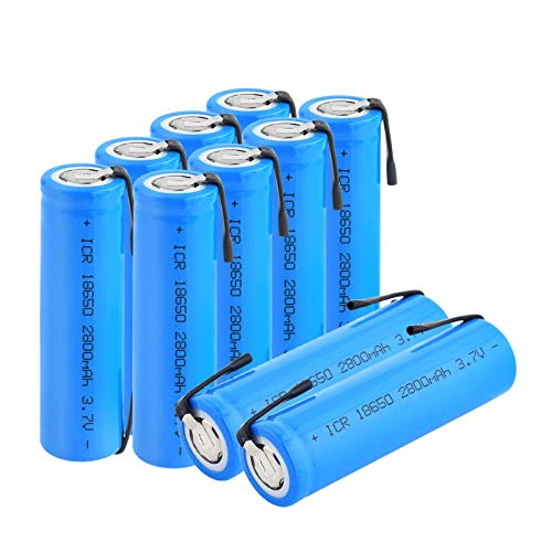 WSXYD 3.7v 18650 2800mah Icr 18650 Batterie Au Lithium Li-ION, Rechargeable avec des Onglets pour Ordinateur Portable De Phare 10Pcs