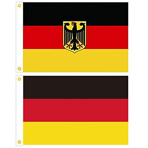 BOELLRUNO 2 Stück Deutschland Flagge Fahne mit Adler Stoff Deutschlandfahne Flaggen Fahnen Fanartikel 150x90cm mit 2 Metallösen zum aufhängen