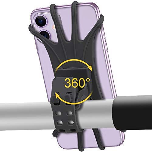 自転車 携帯 スマホ ホルダー 360度回転 GPSナビ携帯固定 全機種に適用 脱着簡単 シリコン素材 伸縮性強
