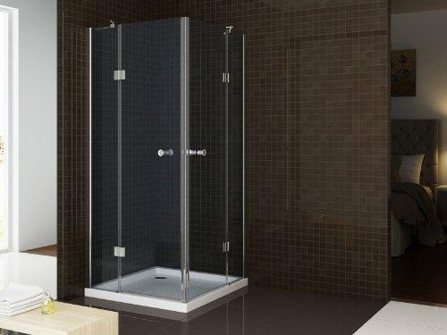 Duschabtrennung Duschkabine Nano Eckdusche T801 / EX801-80 x 80 x 195 cm- 8 mm ESG-Glas Rahmenlose Duschwand