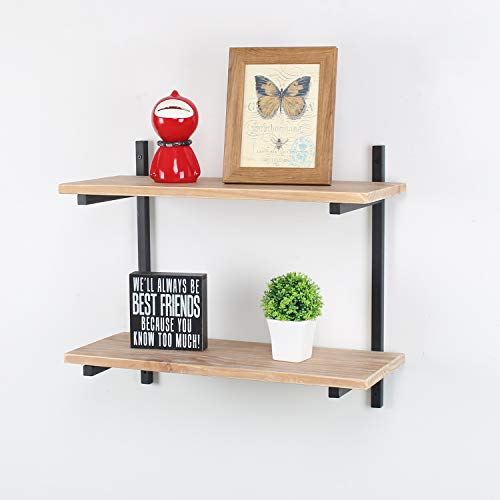 Industrial Metal and Wood Wall Shelf Unit,Rustic Floating Wood Shelves Wall Mounted,36in Iron Real Reclaimed Wood Book Shelves,Hanging Wall Shelves for Bedrooms Office,2 Tier Bookshelf Shelving