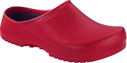 BIRKENSTOCK Unisex-Erwachsene Super Birki Damen und Herren Clogs, Arbeits-Clogs,Pantoletten mit Kork-Latex-Fußbett, Sandalen Rot, EU 38