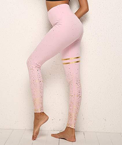 B/H Mujer Gym Yoga Pantalon,Leggings Deportivos de Cintura Alta, Pantalones de Yoga Fitness Leggings-Pink Gold_S,Elástico Transpirable Pantalones
