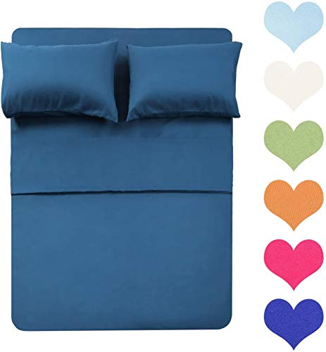Soft 1000 Thread Count 4 Piece Organic Cotton Eco Friendly Wrinkle Free Sheets Hypoallergenic Anti-Bacteria Machine Washable Hotel Bedding Bed Sheet Set 21 Deep Pocket King, Navy Blue