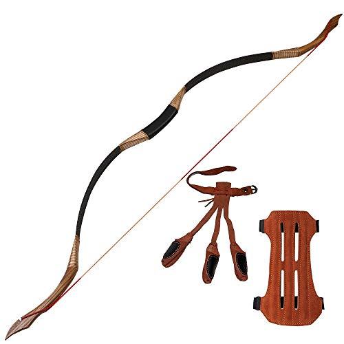Toparchery Bogenschießen 53 '' Traditioneller Recurve-Bogen Holzhandgefertigter mongolischer Pferdebogen-Jagdbogen 30-50 lbs Langbogen für die Jagdpraxis für Erwachsene, Bogenschießen-Set