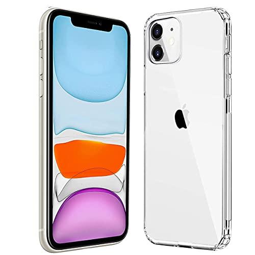 Ultra Crystal Hülle Kompatibel mit iPhone 11 (6.1 Zoll) [Anti Gelb] Transparent Weich TPU Bumper und PC Back Handyhülle Stoßfest Soft Silikon Schutzhülle Kompatibel mit iPhone 11-Transparent