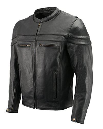 Men's Leather Crossover Scooter Jacket w/Removable CE Armor | Premium Natural Buffalo Leather | Concealed Gun Pockets, Vented Motorcycle Jacket (Black, XL)