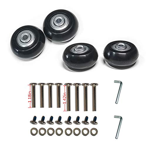 YongXuan 4 Wheels Wear-Resistant Mute Luggage Suitcase Replacement Wheels Rubber Swivel Caster Wheels Repair Kits 1.57x0.71in (40mm × 18mm)
