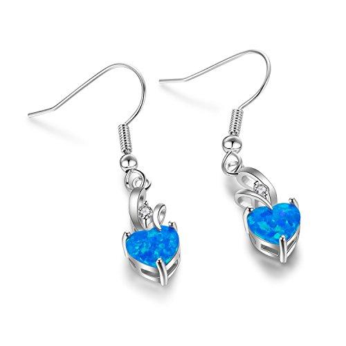 OMZBM Created Blue Fire Opal Gemstone Earrings Women Charm Sterling Silver Heart-Shaped Long Dangle Hook Earrings Jewelry Girl