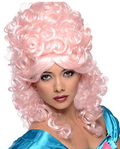 Historische Rokoko / Barock Perücke Pink als Karnevalsperücke