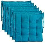 BrandssellerCojín decorativo de asiento para silla de jardín, 9 pespuntes, varios diseños (paquete de 6 unidades), color azul
