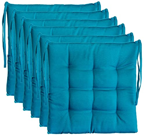 Brandsseller Cojín decorativo para silla, cojín decorativo para jardín, 9 pespuntes en varios diseños (paquete de 6 unidades), color azul