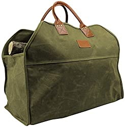 A green tote specially designed for carrying firewood and kindling.