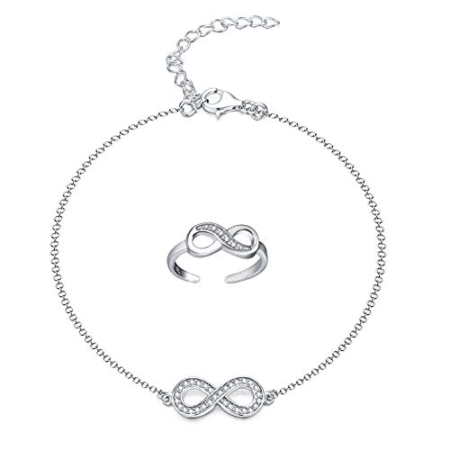 Elegant ANKLET With AAA Cubic Zircon, STERLING SILVER Anklet/Ankle Chain/Ankle Bracelet & Infinity Symbol Figure'8' Toe Ring jewellery set - with Gift Box(Adjustable)