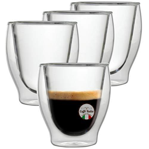 Caffé Italia Milano 4X Tasse Verre Double Paroi 60 ML - Tasse Expresso 8 cl - Espresso en Verre - Coffret de 4 Tasses à Café Double Paroi - Cadeau Parfait pour Toute Occasion