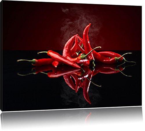 Vurige rode pepersFoto Canvas | Maat: 60x40 cm | Wanddecoraties | Kunstdruk | Volledig gemonteerd